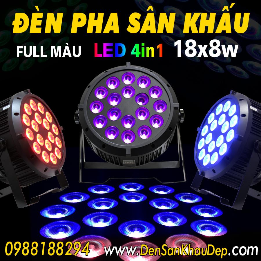 đèn Pha Sân Khấu Led 18x8w Full Màu Sử Dụng Bóng Led 4in1