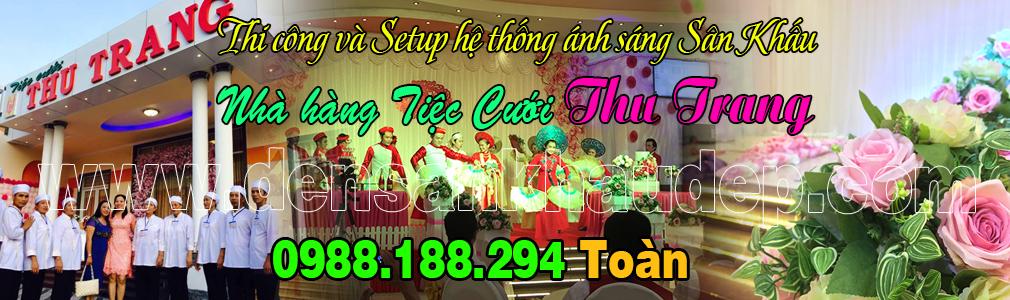 Lắp đặt setup ánh sáng sân khấu nhà hàng tiệc cưới Thu Trang ở Bến Tre