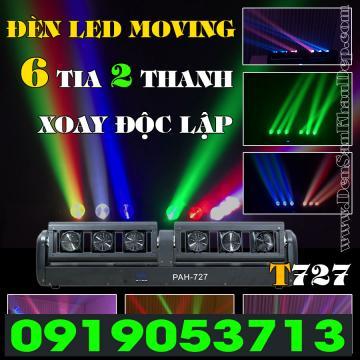 Đèn LED moving 6 đầu 2 thanh quay