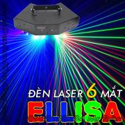 Đèn Laser 6 mắt 3 màu quét màn tia sôi động cho không gian sân khấu 30 mét vuông
