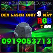 Đèn Laser xoay 9 mắt RGB phủ rộng quét màn tia độc đáo, lắp trung tâm phòng Karaoke VIP